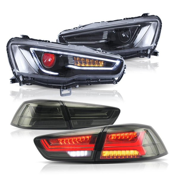 Blackout Headlights with red demon eyes + Smoked Lens Tail lights For 2008-2017 Mitsubishi Lancer / EVO X VLAND Store