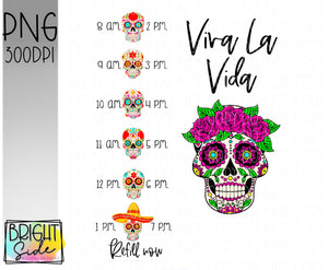 Viva La Vida sugar skull water bottle wrap design
