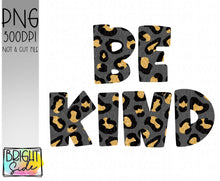 Load image into Gallery viewer, Be Kind gold leopard print