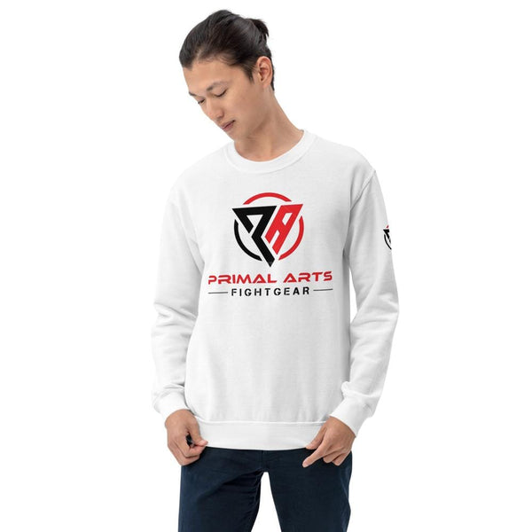 Best fightgear for mma, mixed martial arts, boxing, kickboxing and jiu jitsu. no gi bjj gear buy online Unisex Sweatshirt - Primal Arts Fightgear - White / S