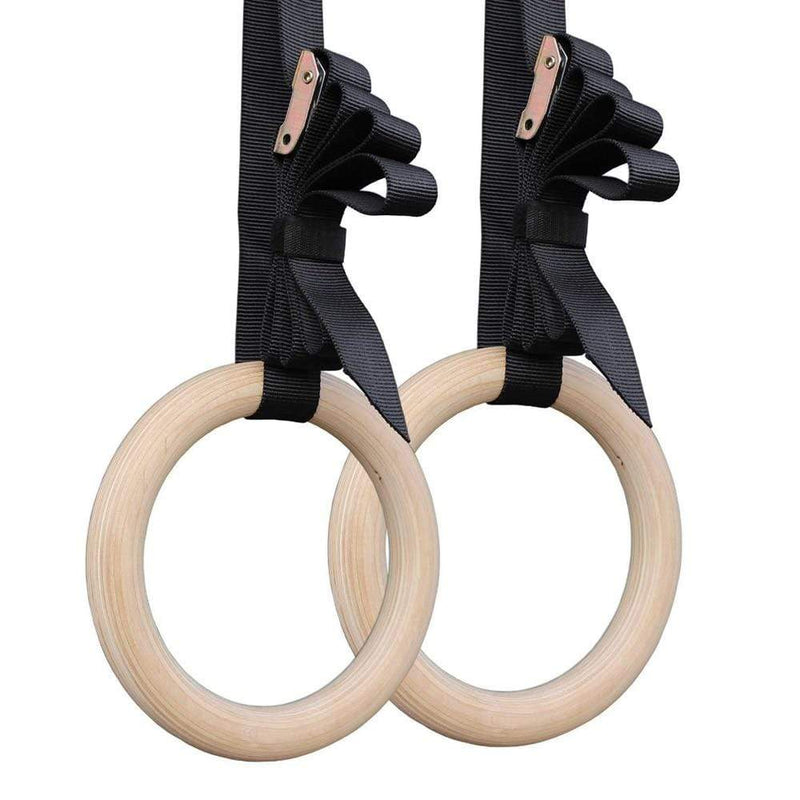 Best fightgear for mma, mixed martial arts, boxing, kickboxing and jiu jitsu. no gi bjj gear buy online 1 Pair Birch Wood Gymnastic Rings - 2.8cm*4.5m Adjustable Straps for Optional - Primal Arts Fightgear -