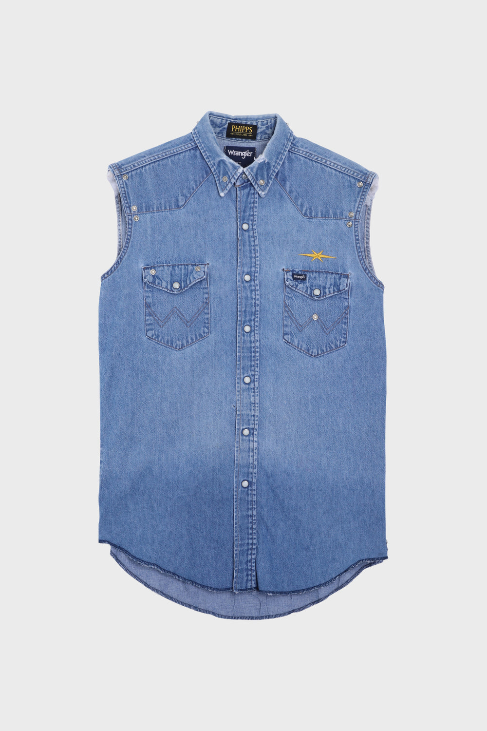 Sleeveless Rivets Denim Shirt