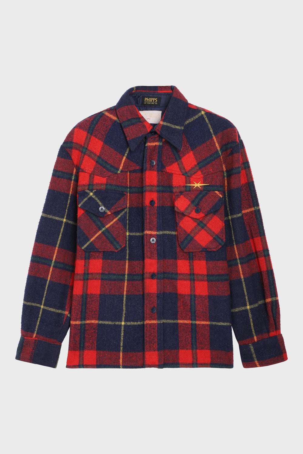 Red and Navy Checked Overshirt