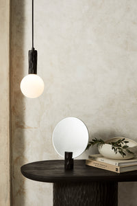 Kyoto Pendant light Black with white glass