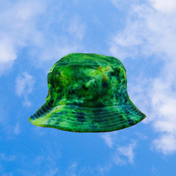 Gen Z Green Tie Dye Bucket Hat inspired by (blue) candy apple | hand-dyed tie dye by BEANDREAM