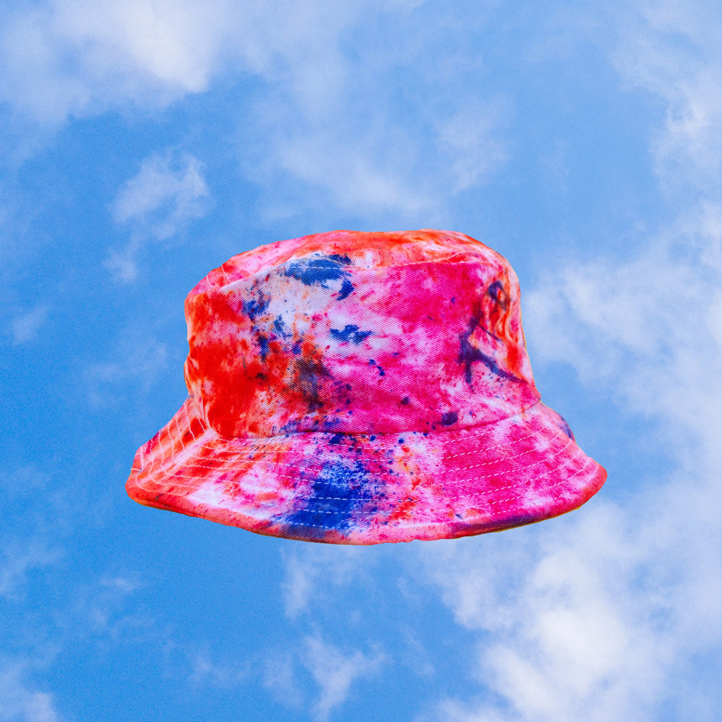 Pink Tie Dye Bucket Hat inspired by (melted) cotton candy  | hand-dyed tie dye by BEANDREAM