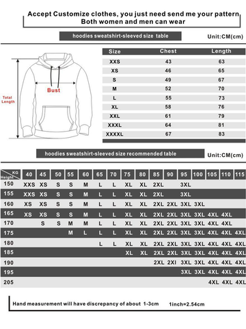 hoodies sweatshirt-sleeved size recommended table
