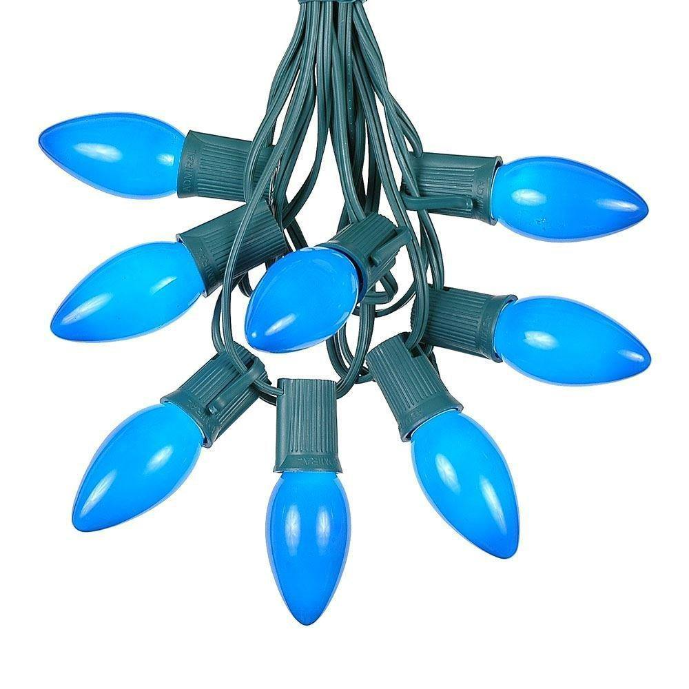 Christmas 25 Lights C7 Plastic Blue Waterproof String Lights - aonal