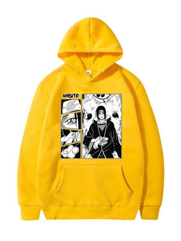 NARUTO Uchiha Itachi Sports Printed Hoodie Pullovers Sweatshirts Long Sleeved Hooded Tops Coats - aonal