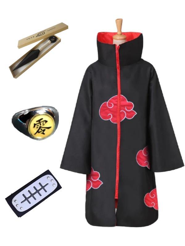 Naruto Itachi Uchiha Cosplay Costume Akatsuki Cloak for Adult with Headband Kunai and 2 Rings