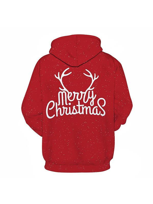 Merry Christmas Printed Hoodie Classical Sweatshirt Unisex Pullover Hooded - aonal
