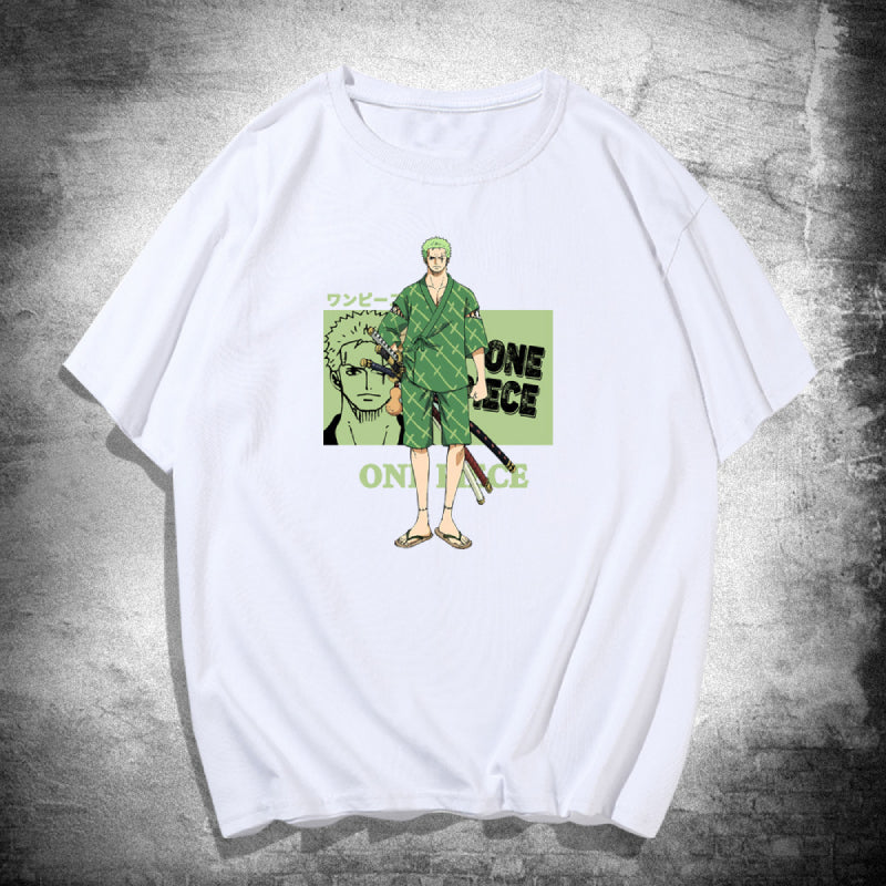Anime ONE PIECE Zoro Printed T-Shirts Casual Short Sleeves Unisex Sweaters Hot Tops