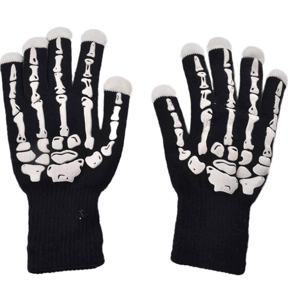 Skull Bone Glitter Gloves