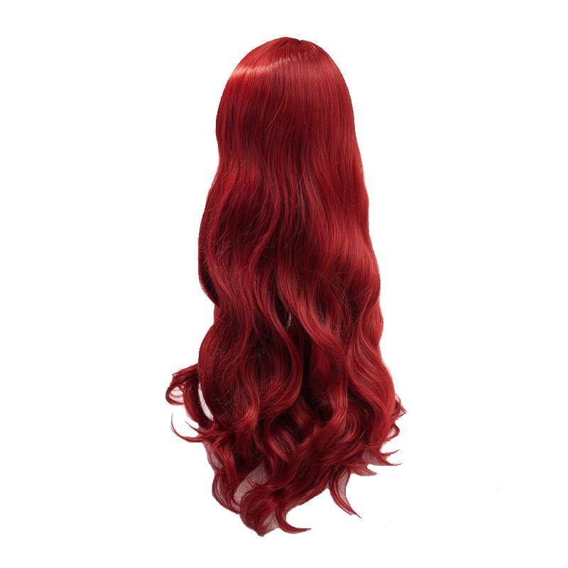 Aquaman Mera Queen Cosplay Wig Red Long Curly Hair - aonal