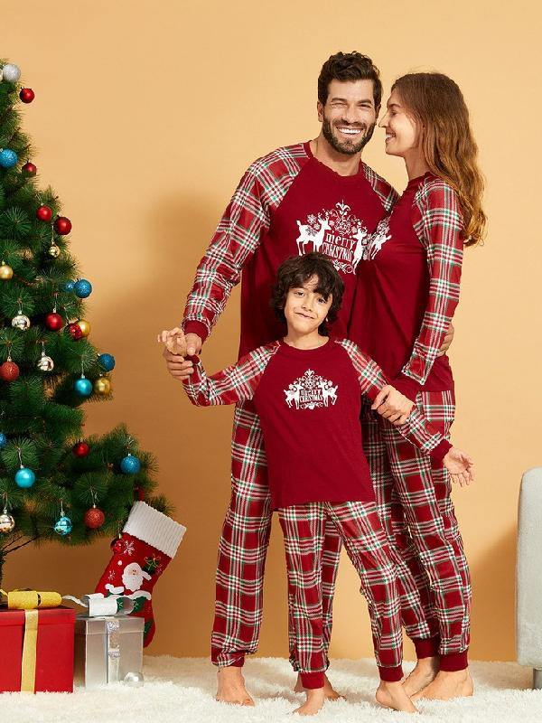 Red Plaid Household Clothes Pajamas Set Dad Mom Kids Baby PJs Family Sleepwear - aonal