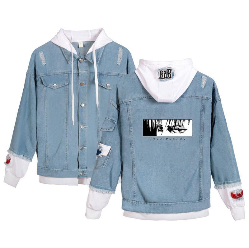 Attack on Titan Levi AOT Printed Hoodies Coat Unisex Jean Jacket - aonal