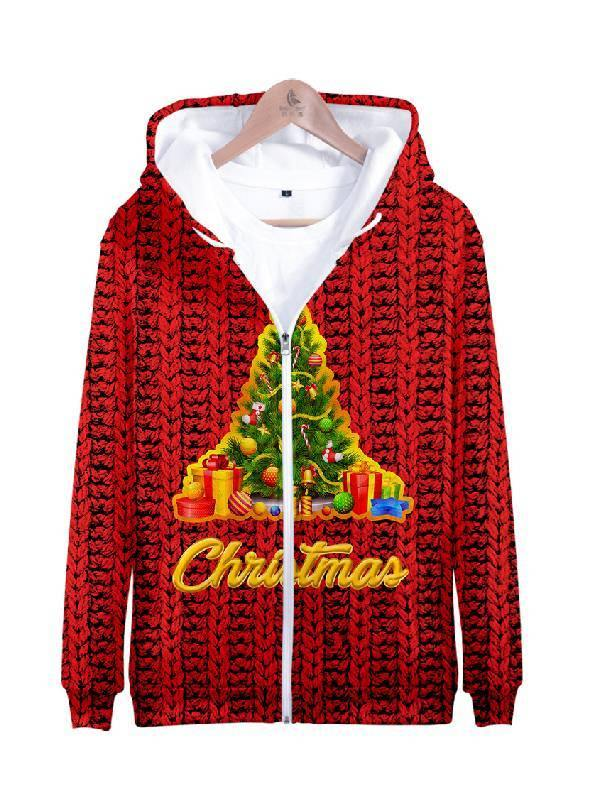 Christmas Tree Print Casual Hoodie Sports Pullover - aonal