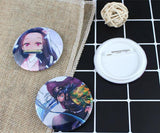 Anime Demon Slayer Badges 12 Pack Tinplate Brooch Pins Collections Cosplay Accessories - aonal