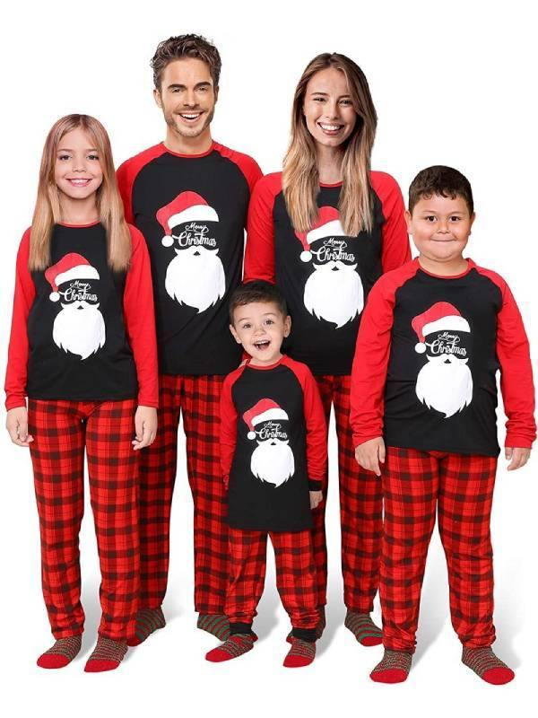 2020 Christmas Parent-child Pajama Set Plaid Long Sleeve Print Pajama Set - aonal