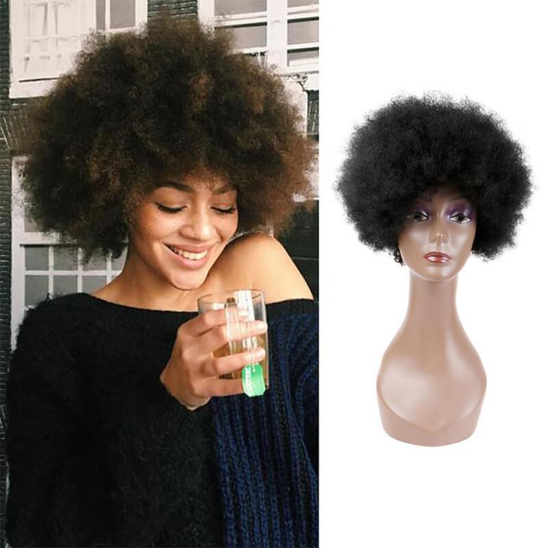 Short Curly African American Wig Explosion Haircut - aonal