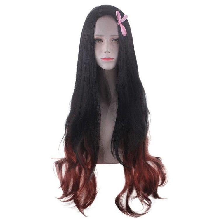 Demon Slayer Kamado Nezuko Gradient Color Long Halloween Cosplay Wig