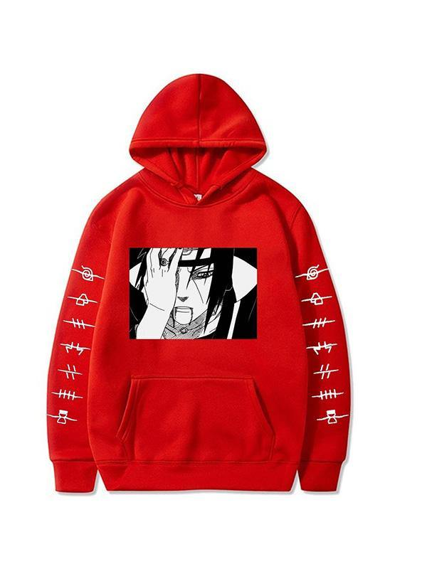 Naruto Uchiha Itachi Printed Hoodie Anime Casual Pullover Sweatshirt with Pocket - aonal