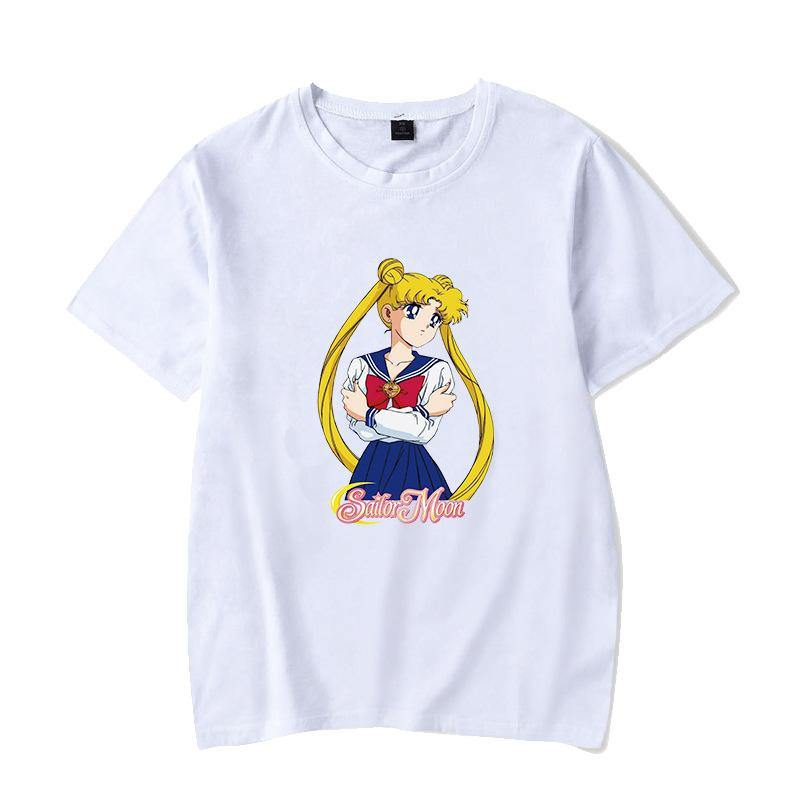 Sailor Moon Casual T-Shirts Anime Short Sleeves Top Classic Tees - aonal