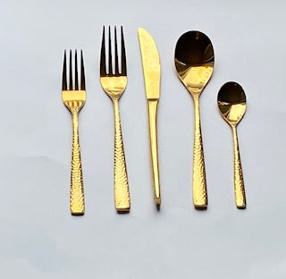 Fiona Hammered gold flatware