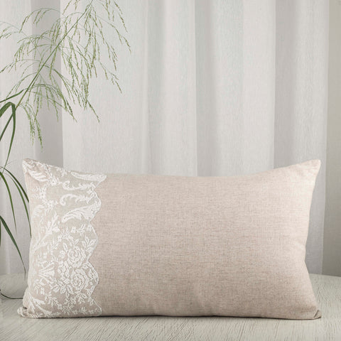 Burlap and lace sham by Studio Covers