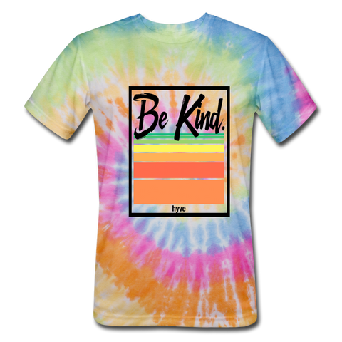 Be Kind -Unisex Tie Dye T-Shirt - rainbow