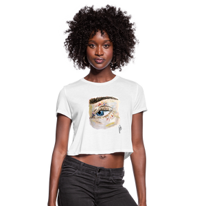 Women's Cropped Eye T-Shirt - white