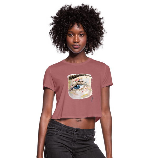 Women's Cropped Eye T-Shirt - mauve