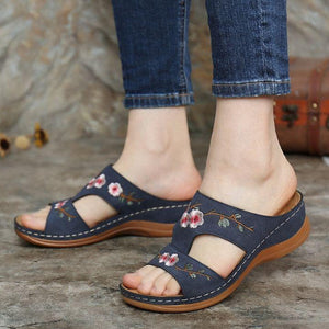 Flower Embroidered Vintage Women Casual Sandals
