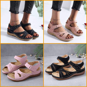 SUMMER OPEN TOE VINTAGE WEDGES LEADTHER WOMEN SANDALS