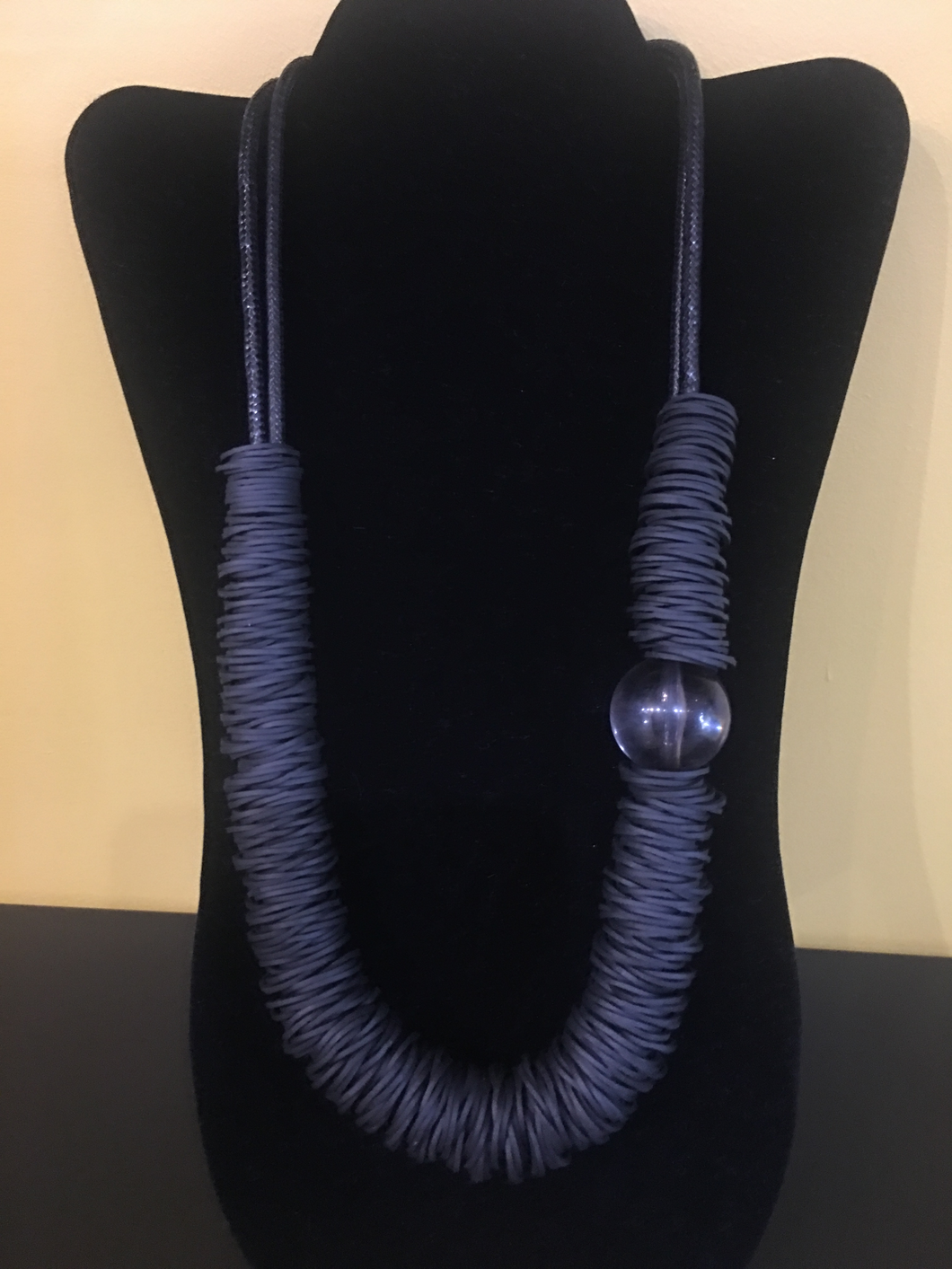 Adjustable black corded Rubber band Necklace