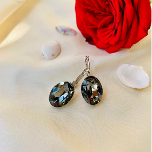 Load image into Gallery viewer, Silver Swarovski earrings - Zevar King