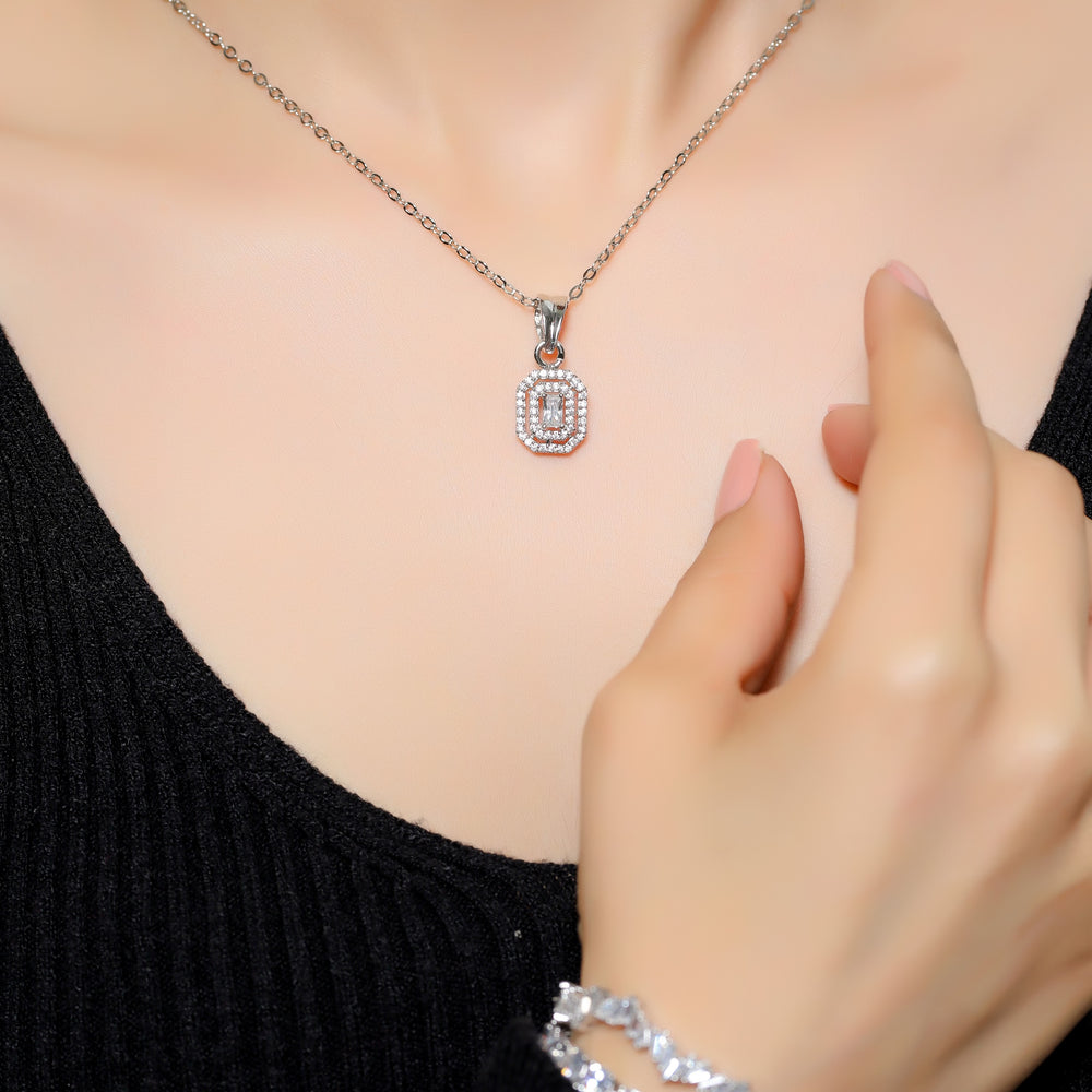 Emerald Cut Double Halo Solitaire Pendant - Zevar King