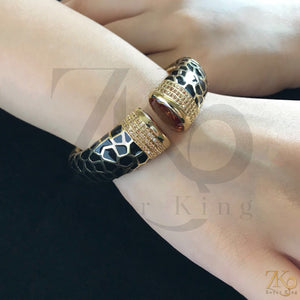 Turkish Openable Black Enamel Bracelet