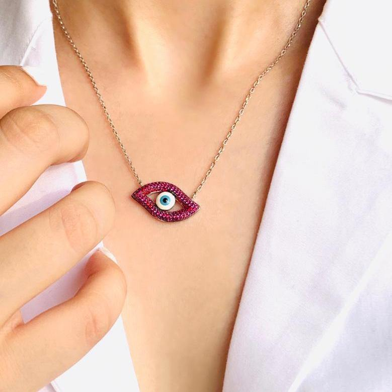 Load image into Gallery viewer, 92.5 Silver Evil Eye Necklace - Zevar King