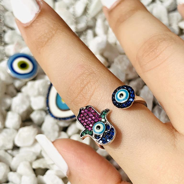 Load image into Gallery viewer, 92.5 Silver Evil Eye Rings - Zevar King