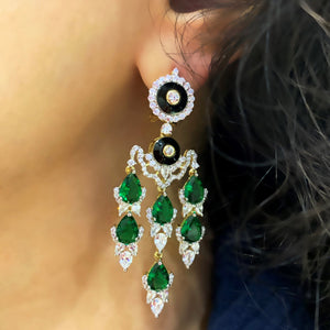 Nur Jahan Green Onyx Earrings