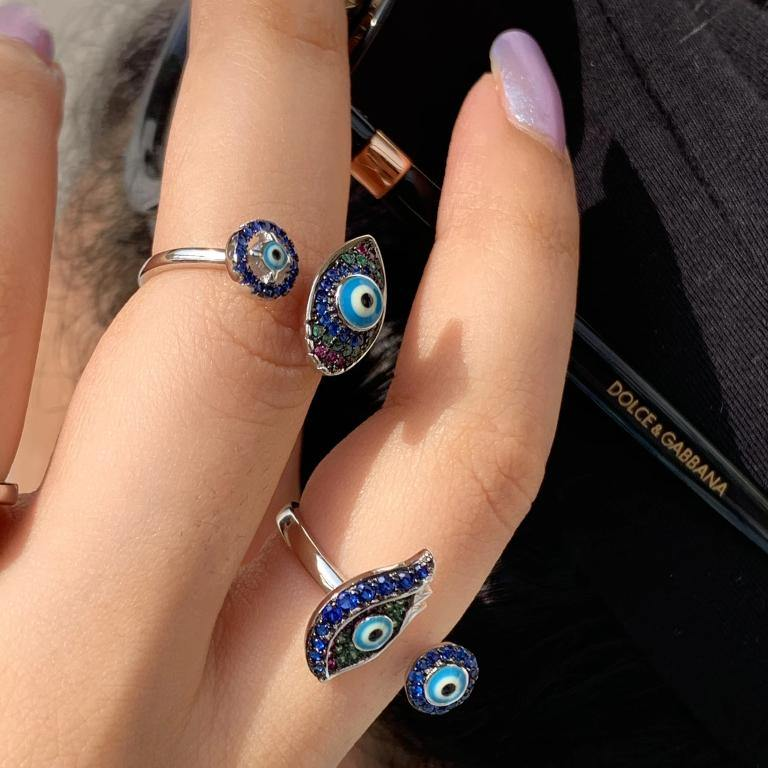 Load image into Gallery viewer, 92.5 Silver Evil Eye Ring - Zevar King