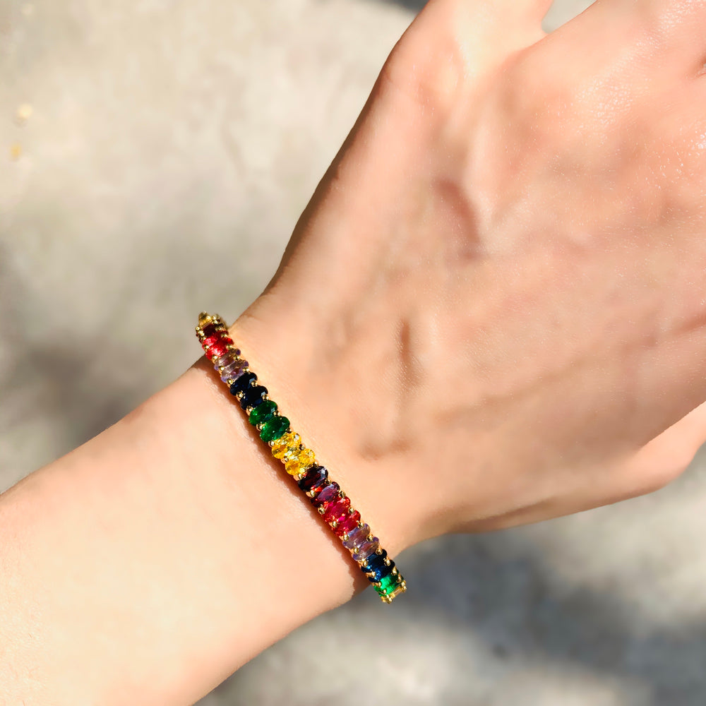 Load image into Gallery viewer, Rainbow Multi Sapphire Bracelet - Zevar King