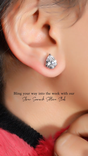 Load image into Gallery viewer, 92.5 Silver Swarovski Tear Drop Solitaire Studs