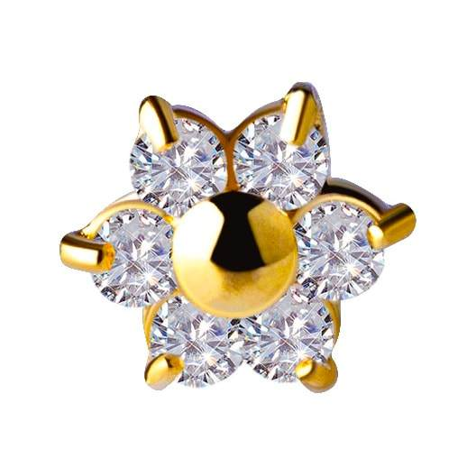18K Gold Flower Jewelled End with Swarovski Zirconia - Steelhybrid