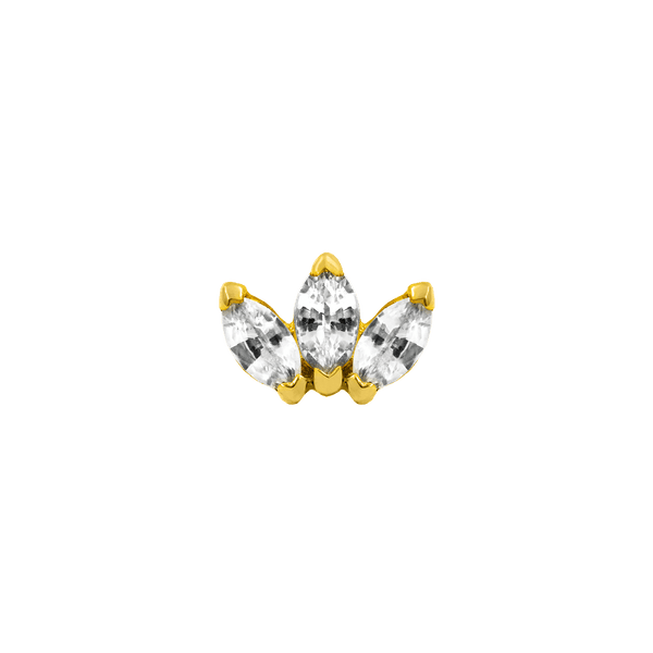 14k  Yellow Gold Junipurr Triple Marquise CZ - Steelhybrid
