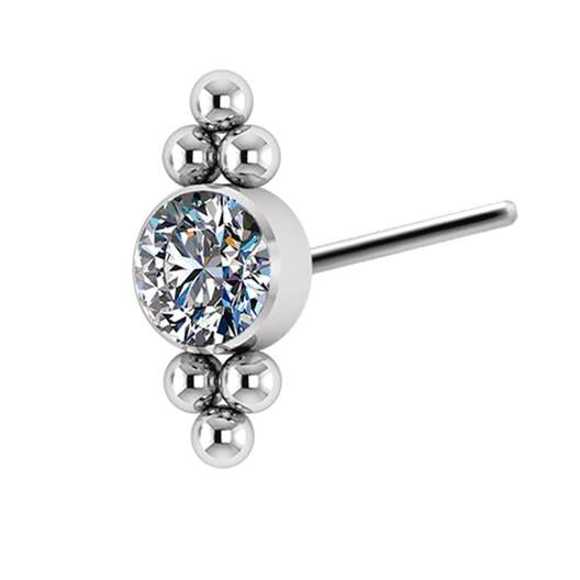 Titanium Threadless End with 2 Tri-bead Clusters with Swarovski Zirconia bezel - Steelhybrid