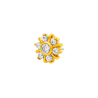 14k Yellow Gold Junipurr 7 Gem Radiant CZ Cluster - Steelhybrid
