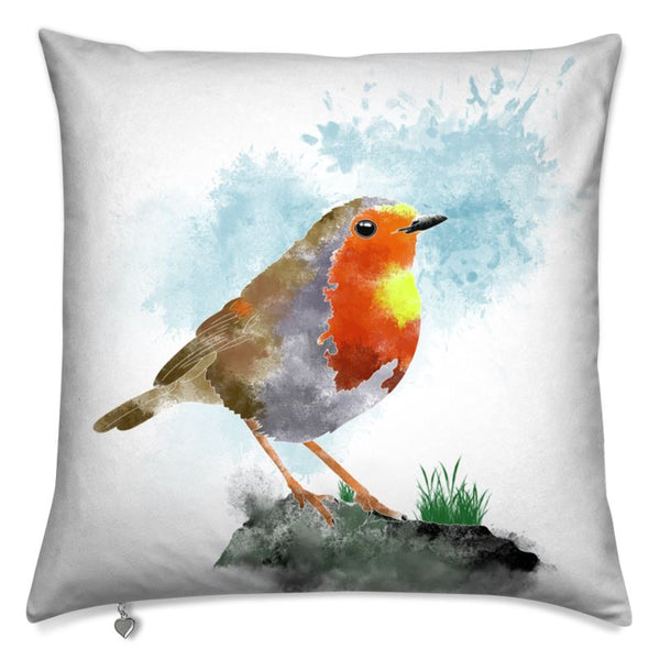 Art print cushion watercolour Robin
