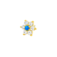 14k yellow Gold Junipurr Flower with Blue Opal & Swarovski CZ